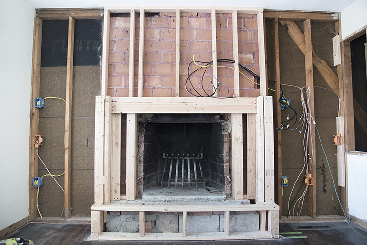 framing-out-new-fireplace - Room For Tuesday