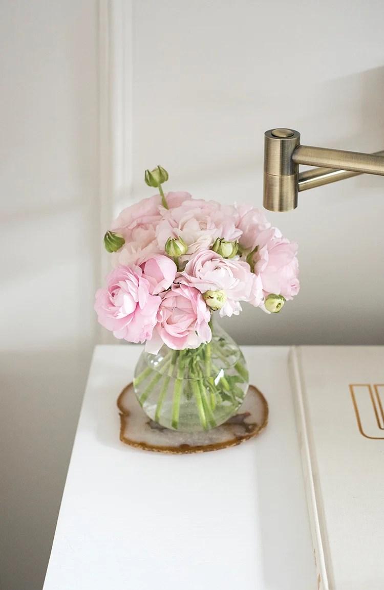 Pink Bedside Flowers
