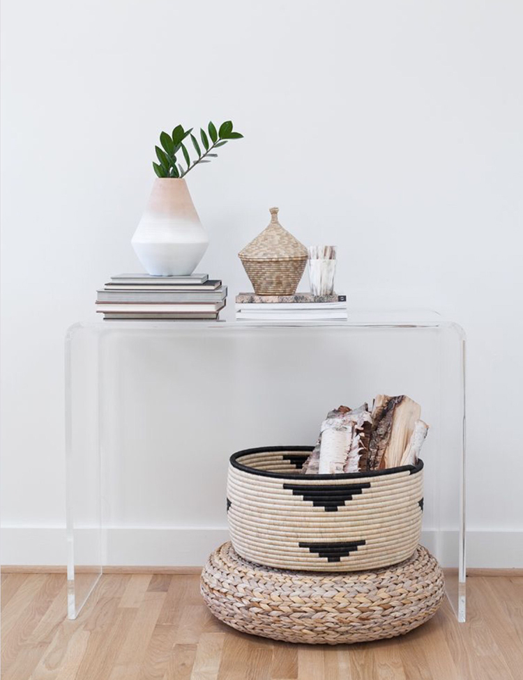 woven baskets on console table