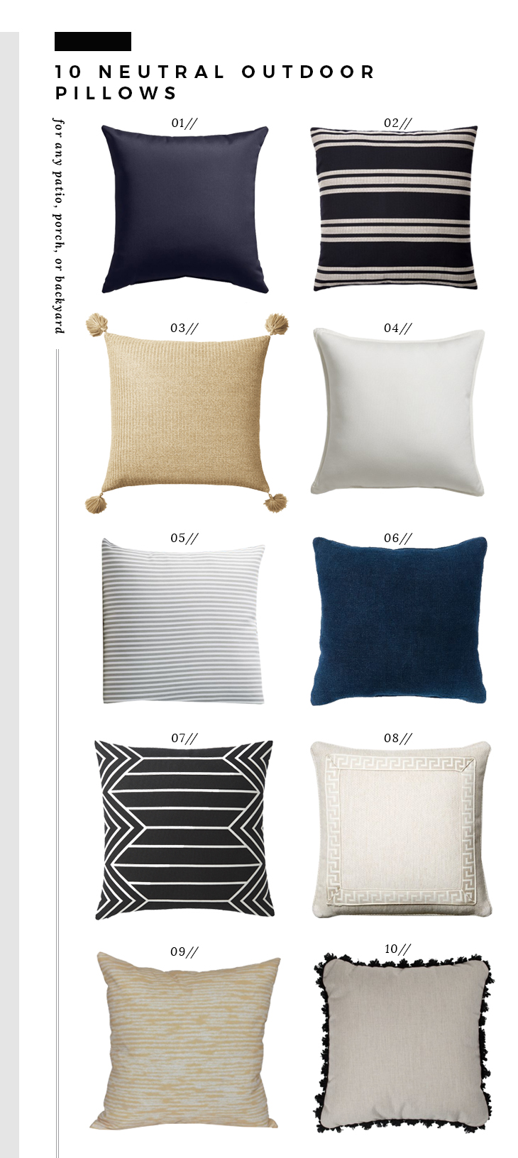 Outdoor Throw Pillow Combos