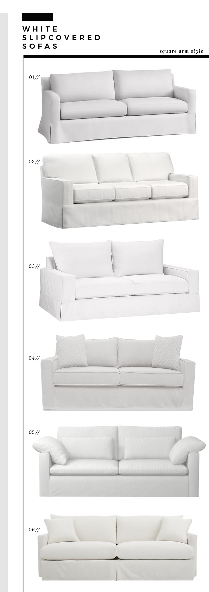 Square Arm Slipcover Sofas