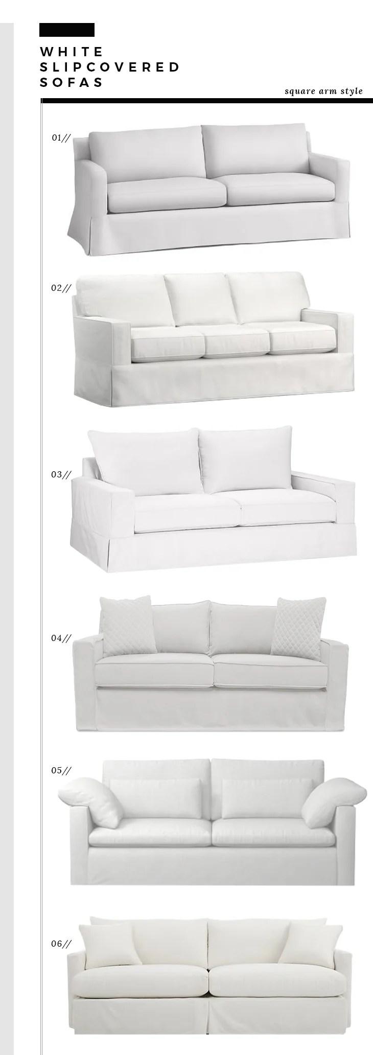 Square Arm Slipcover Sofas