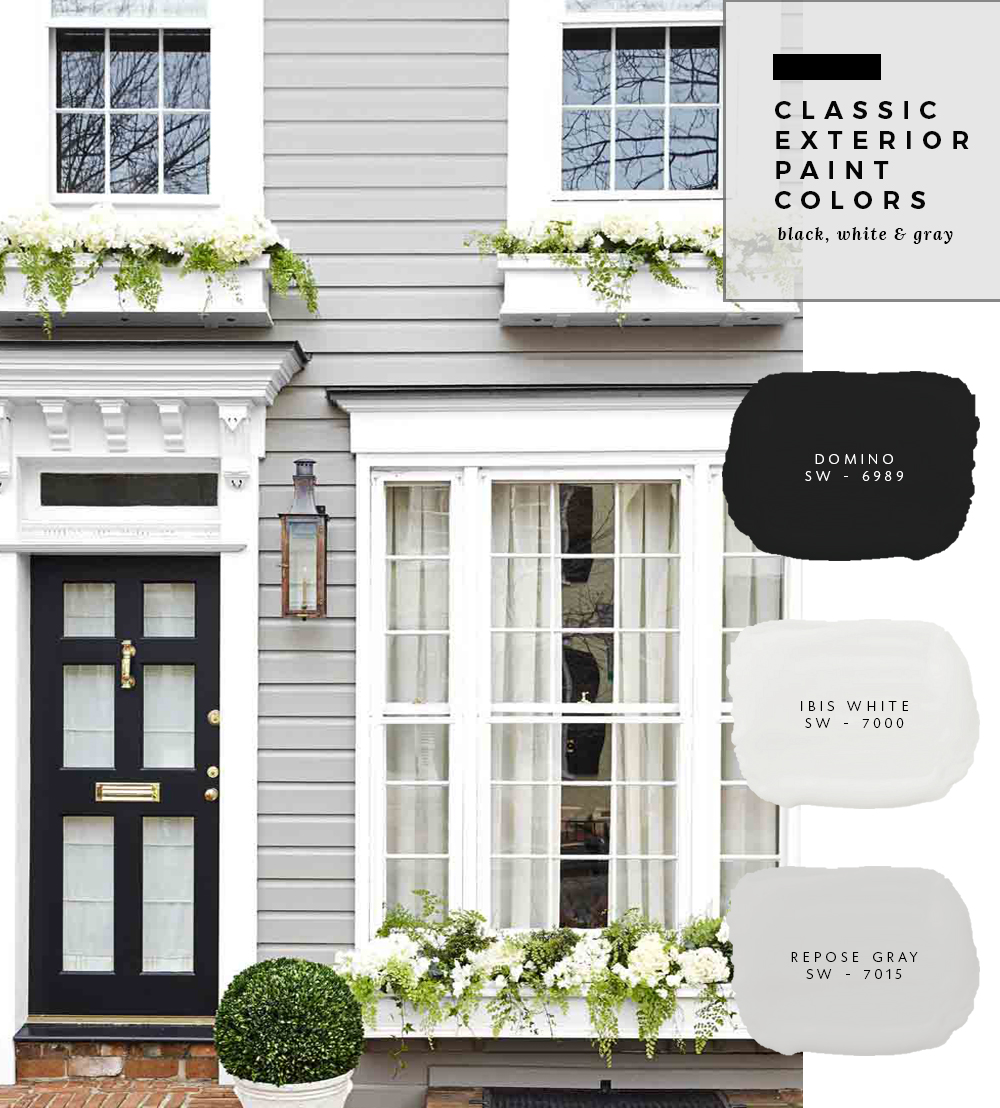 Classic Exterior Paint Colors - Black, White & Gray - Room For Tuesday