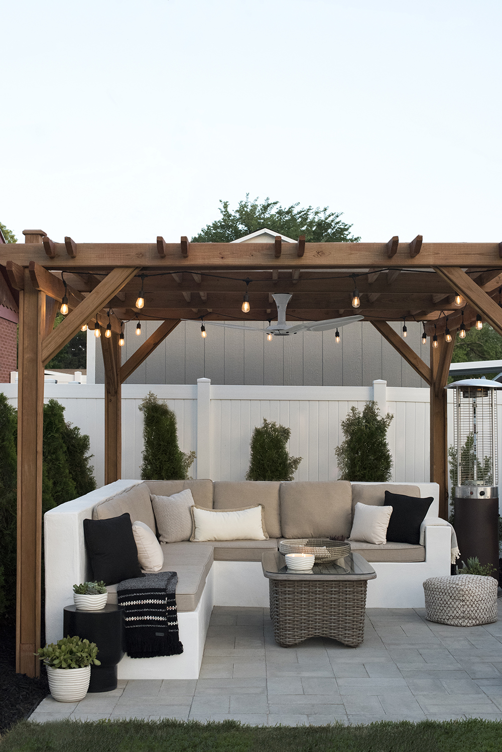outdoor living space and lounge area under pergola room for tuesday