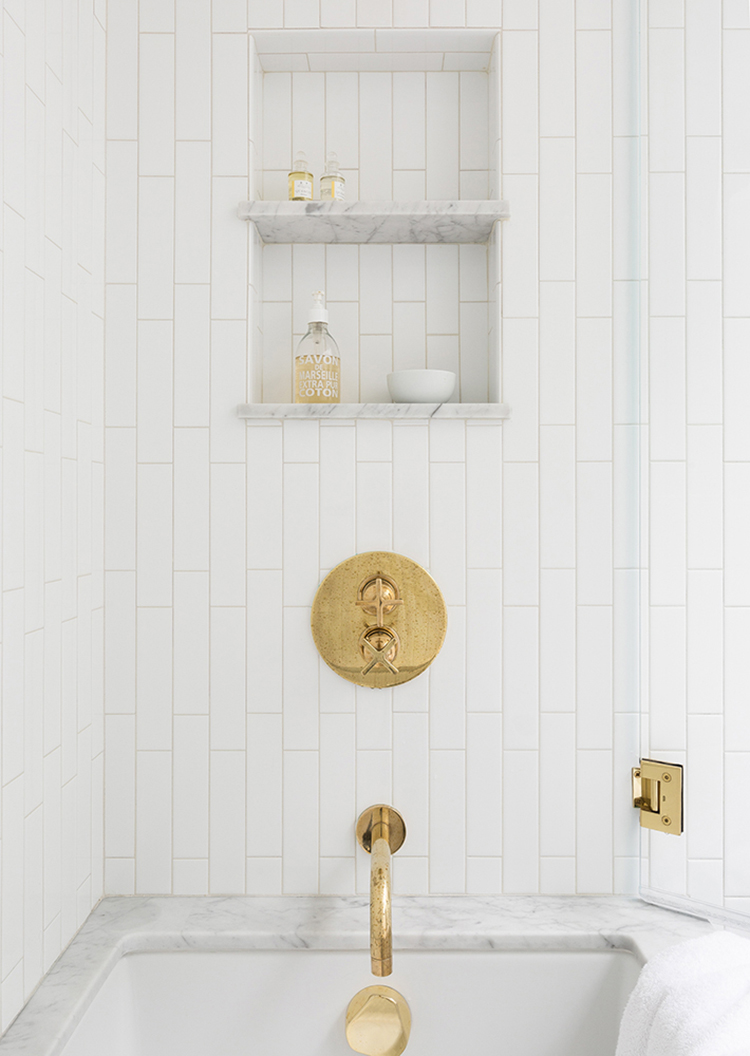 marble shower niche and vertical subway