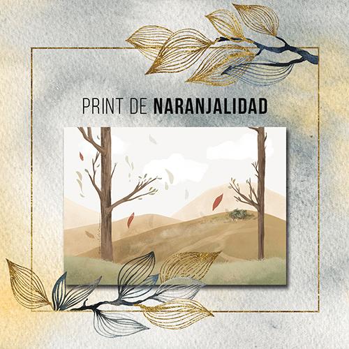 Print con la imagen de la contracubierta. Dos árboles con un fondo de montañas coloridas y un bosquecito entre ellas