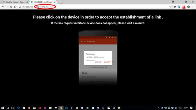 Xender_entrer adresse IP
