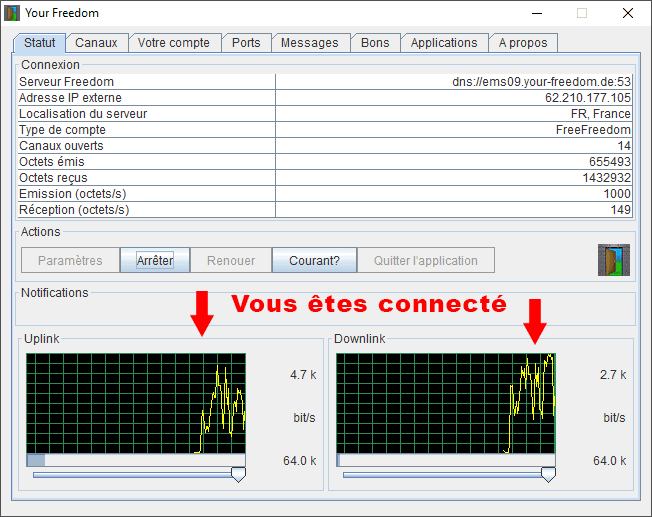 Your-Freedom_Configuration sur PC_connecté