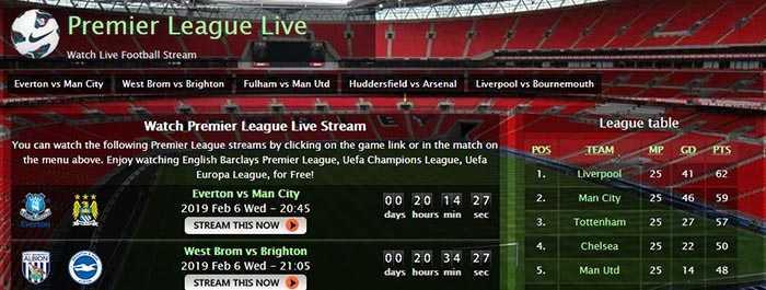 site de Streaming - PremierLeague Live