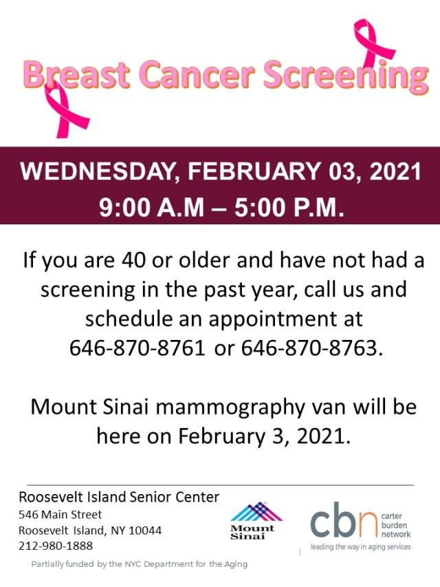 Breast Cancer Screening, CBN/RI Senior Center, February 3rd, 2021