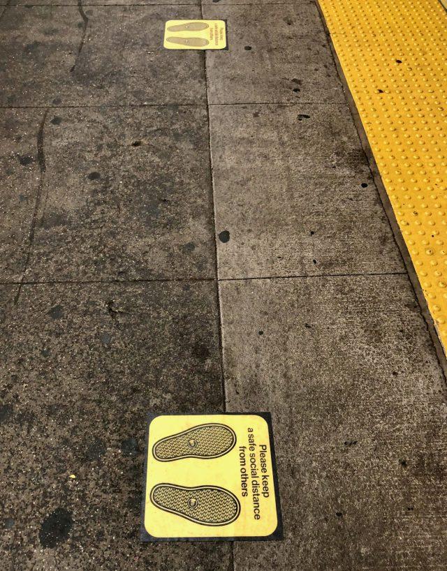 MTA subway social distancing markers