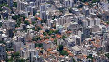 modern residential building facades in summer city