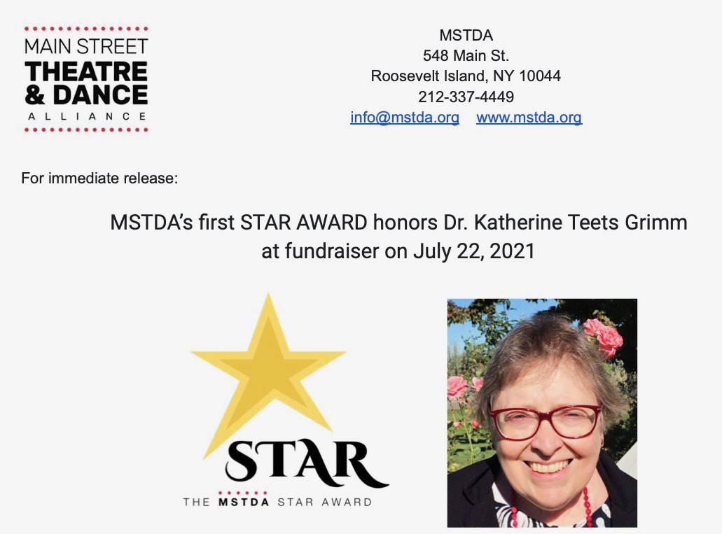 Dr. Katherine Teets Grimm Honored with MSTDA's First Star Award