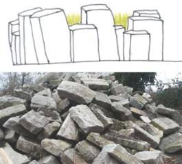 Meltwater drift materials - reuse granite curbs