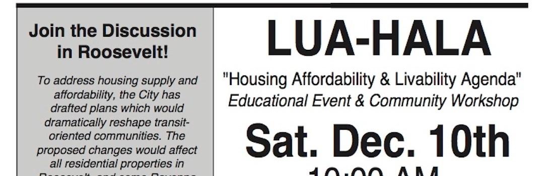 HALA – Roosevelt Land Use Academy – Sat Dec 10th 10a-12p