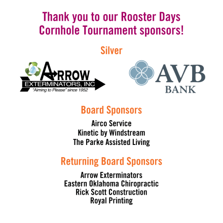 Rooster Days Cornhole Tournament Sponsors - Website Graphic