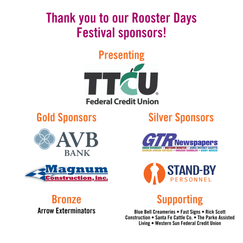 Rooster Days Festival Sponsors - Website Graphic