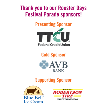 Rooster Days Run & Parade Sponsors - Website Graphic