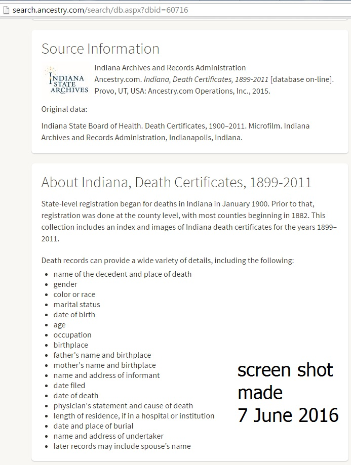 Did Ancestry Delete Information From Indiana Death Certificates