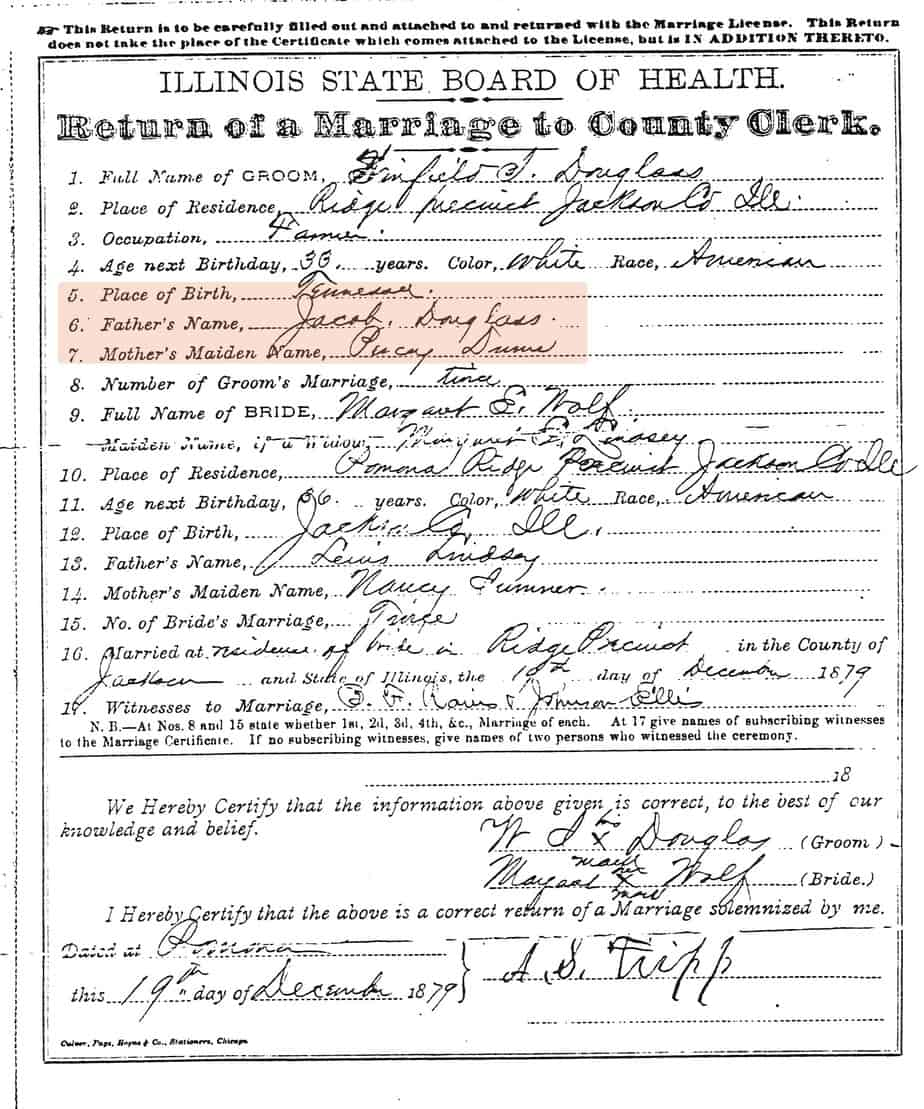 Winfield Scott Douglas Marriage License