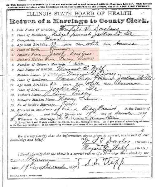 Winfield Scott Douglas Marriage License