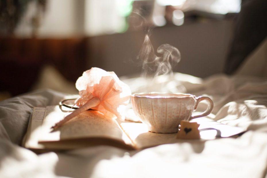 tea mug steam light book