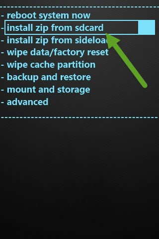 Install Zip From SD Card CWM Recovery