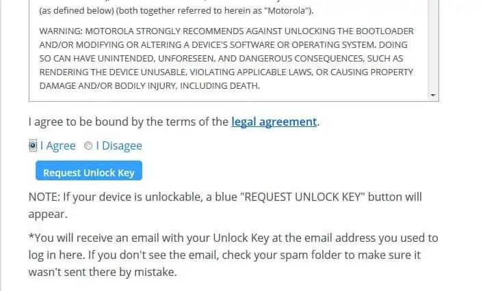 Request Unlock Key Moto E