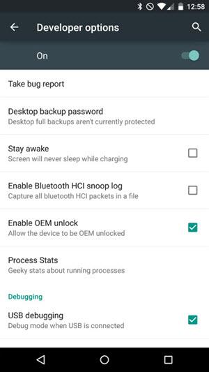 Enable OEM Unlock And USB Debugging