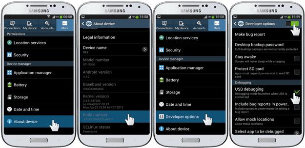 Enable USB Debugging Samsung Galaxy S4