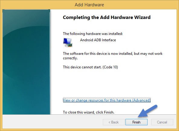 Completing The Add Hardware Wizard