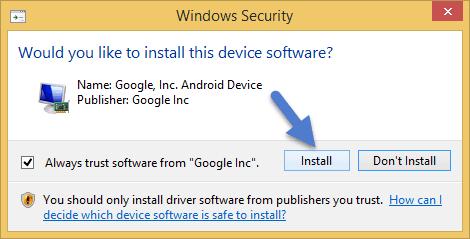 Install ADB Driver Windows Security