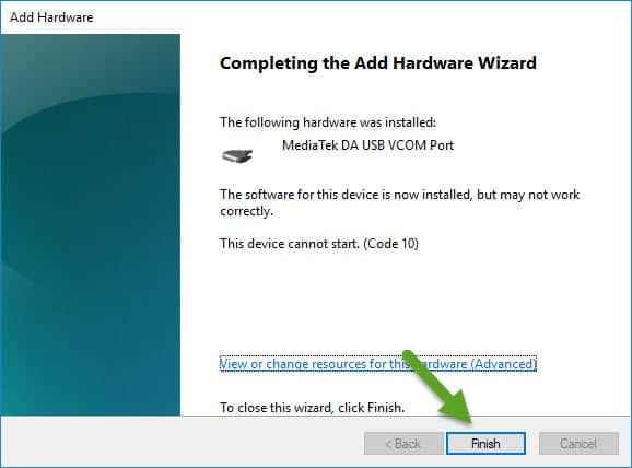 Completing the add hardware wizard VCOM Driver