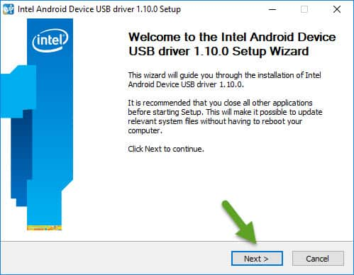 Welcome to Intel Android Device USB Driver Installation Wizard