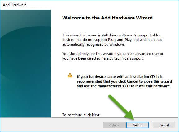 Welcome to the Add Hardware Wizard VCOM Driver
