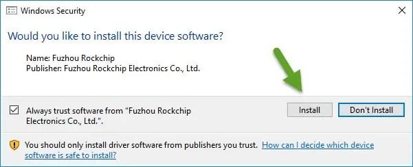 Windows Security Rockchip
