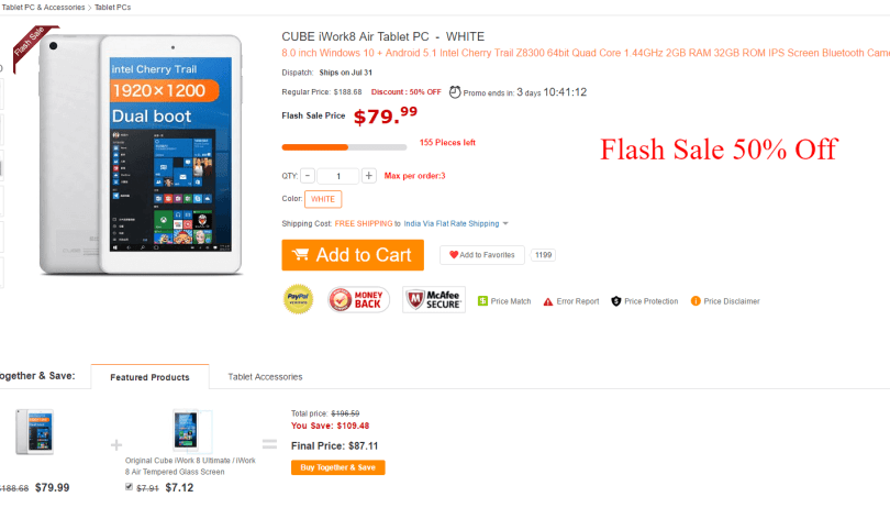 CUBE iWork8 Air Tablet PC 94.27 Flash sale