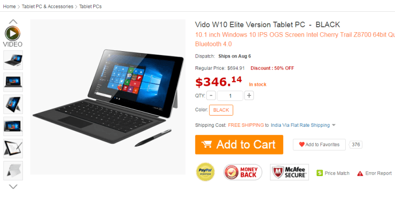 Vido W10 Elite Version Tablet PC 346.14 and Free Shipping GearBest.com