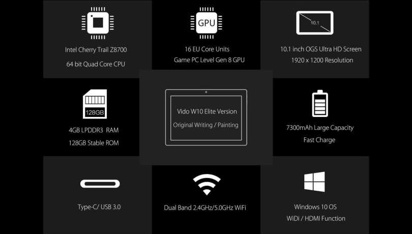 Vido W10 Elite Version Tablet PC-Specifications