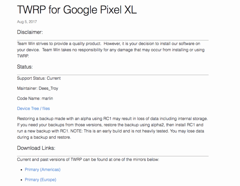 Latest TWRP For Android -Google Pixel XL (Marlin)