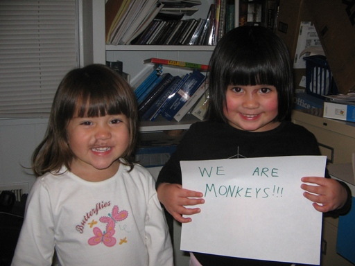 "After they colored all over themselves with markers, us responsible parents told them we would make a sign that said ""We Are Princesses"" and then we could take a fun picture.  Except we replaced ""princesses"" with another word."