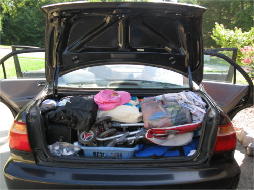 5 people and all the necessities and niceties for 5 weeks on the road.  All packed into one 14 year old Honda Accord sedan.