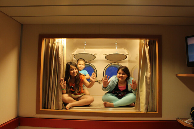An unexpected free upgrade on our cruise - a room with a view. And a neat nook that the kids wish was in their own cabin.