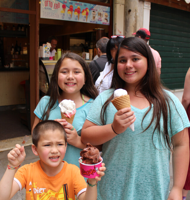 Cheers from Venice! Gelato!
