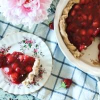 Fresh Strawberry Pie and Whipped Cream
