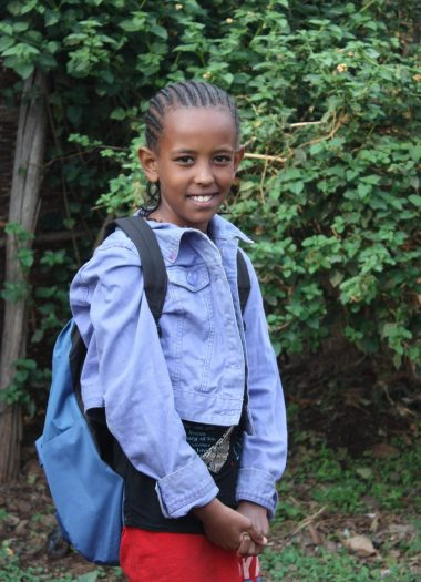 Tinsae Tsegaye one of the newest SS recpient in Sodo from HIV +ve carrier parents with her new backpack given as part of her SS support March 2018