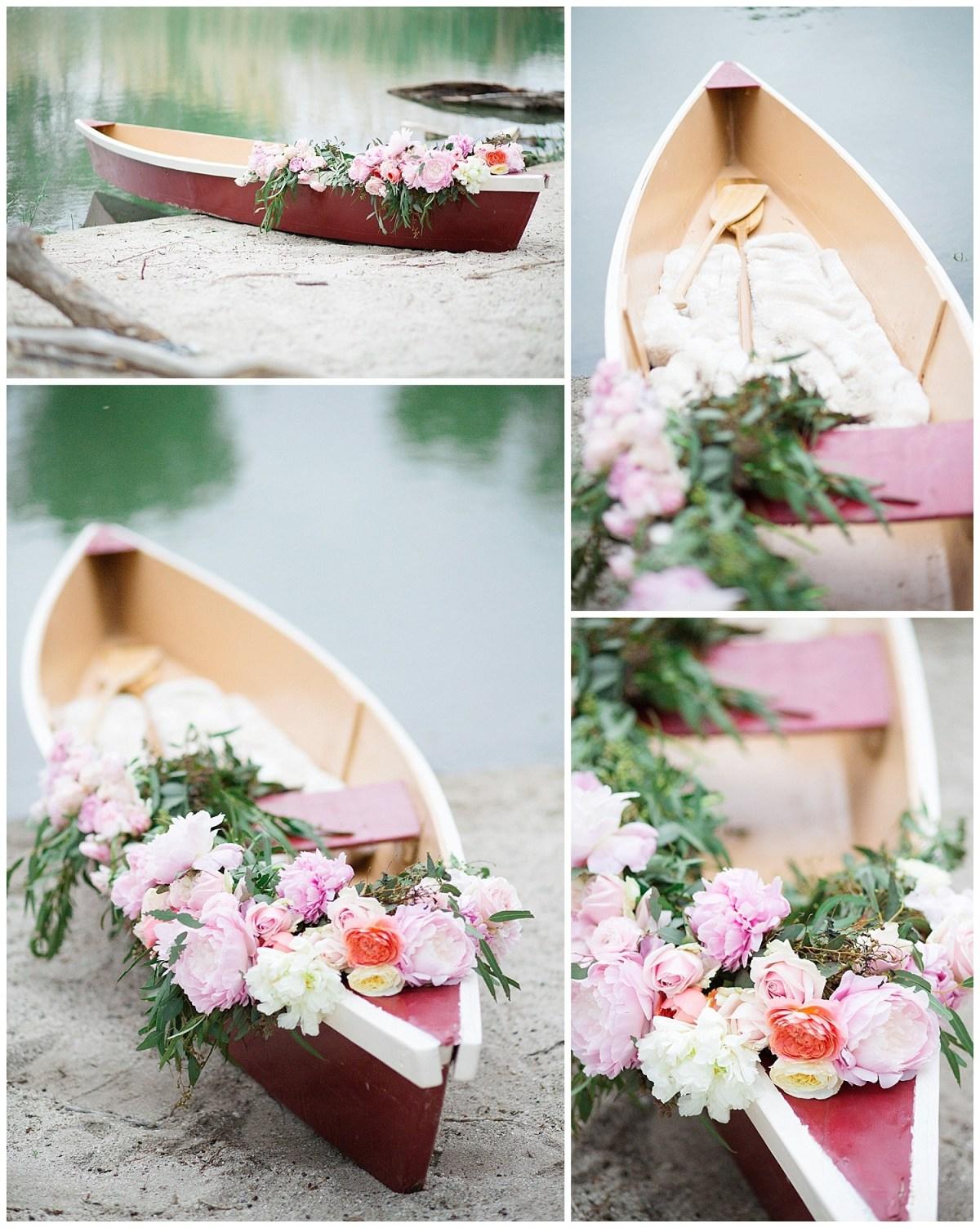 Lakeside Elopement Canoe Wedding Idea