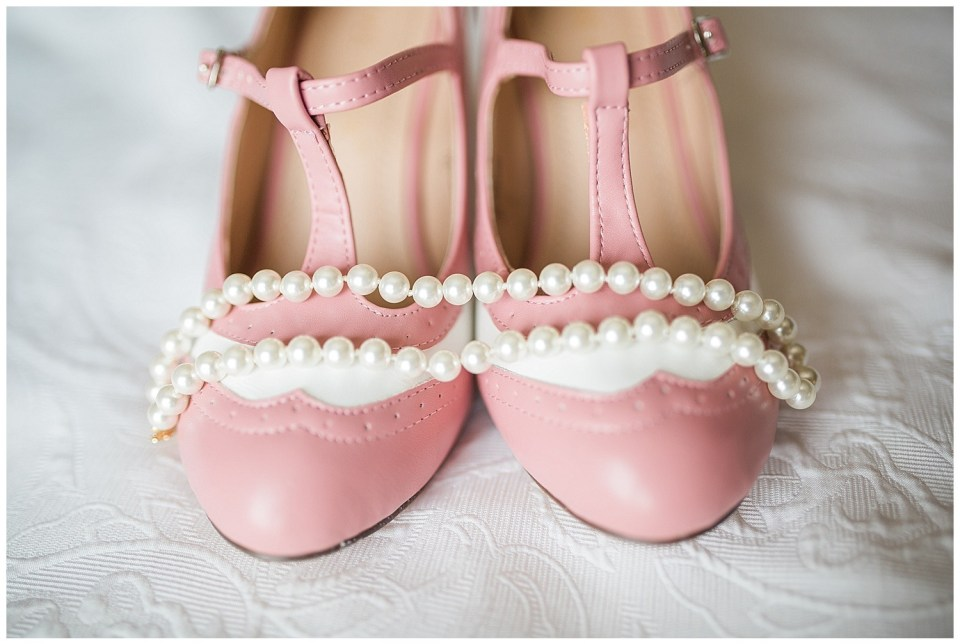 Colorful pink vintage wedding shoes