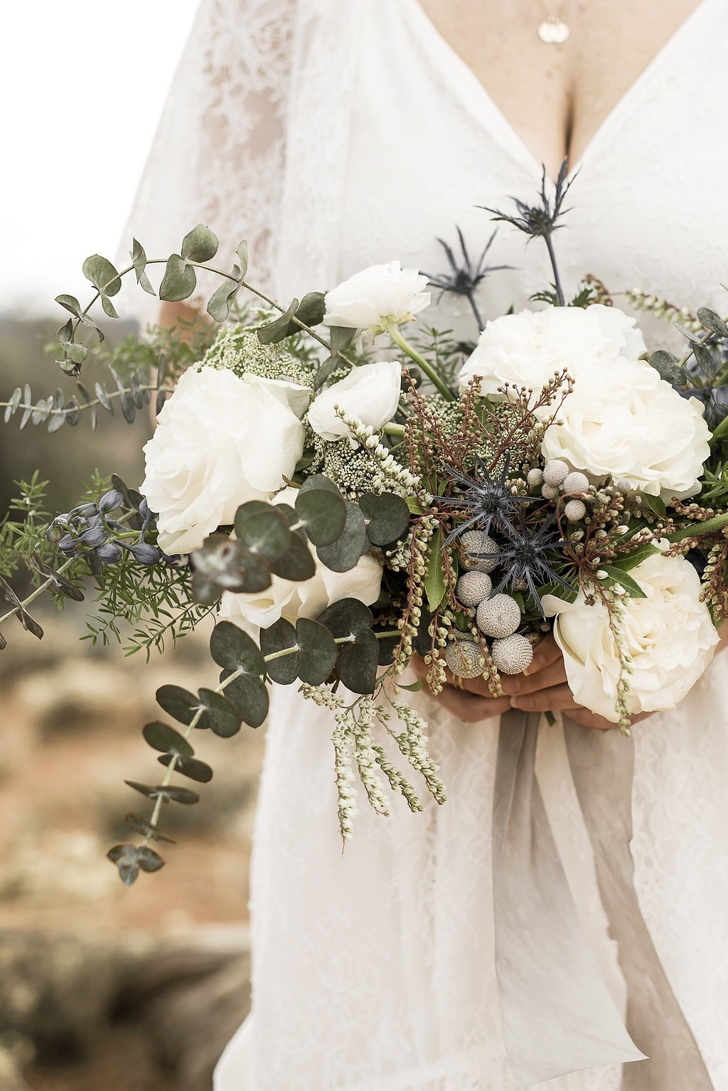 White Green Slate Blue and Copper Bouquet