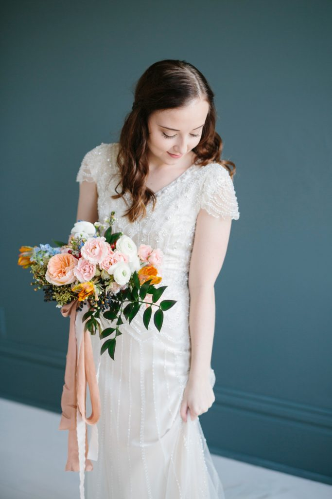 Romantic and Colorful Bridal Session | Ohio Wedding Florist
